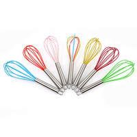 Wholesale steel egg beater for sale - Group buy Silicone Egg Beater Stainless Steel Round Handle Inch Delicate Domestic Baking Tool Eggs Whisk Cooking Mixer cx F R