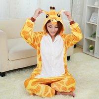 Wholesale Giraffe Pyjamas - Wholesale- New Giraffe Pajamas For Women Nightgown Pajama Adult Pajama One Piece Polyester Pajamas Pyjamas