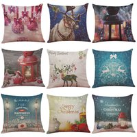Wholesale Cushion Inserts Wholesale - Christmas Wish Series Linen Cushion Cover Home Office Sofa Square Pillow Case Decorative Cushion Covers Pillowcases Without Insert(18*18)