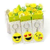Wholesale cars keychains free shipping online - Emoji Smiley Keychains Cute Cartoon QQ expression PVC Pendant Car KeyChains New Fashion Mix Style B969