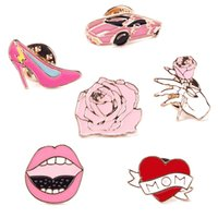 Wholesale Moms Cartoons - Creative Cute Cartoons Car Mom Love Heart Rose Flower High Heel Shoes Lip Badge Corsage Collar Metal Brooch Pins Jewelry #94037