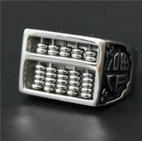 Wholesale Lucky Stainless Steel Ring - Size 7-13 Activities Bead Abacus Ring 316L Stainless Steel Man Chinese Special Lucky Ring