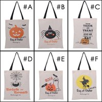 Wholesale 2017 Hot Sale Halloween candy bags Large Canvas Hand Bags Trick or treat Pumpkin Devil Spider Halloween Gift Bags In stock