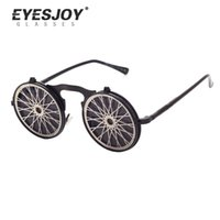 Wholesale Steam Punk Goggles Glasses - Steam Punk Gothic Vintage Clamshell Sunglasses Personality Clamshell Glasses for Men and Women Metal Punk Sunglasses EJ882SG