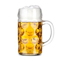 Wholesale Decoration Mug - 1L Large Capacity Handle Glass German Bar Beer Mugs Barbecue Cups High Quality Transparent Oktoberfest Dedicated Cups