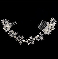 Wholesale Rhinestone Alloy Comb Hair Accessories - Luxurious bridal head pieces butterfly rhinestone pearl enviromental friendly alloy wedding long hair comb wedding hair accessories