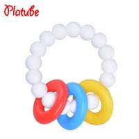Wholesale Oral Solid Silicone - Platube Baby Teethers BPA Free Silicone Oral gingival care Teether for Baby Teeth Dentition Ring Hand ring gums Teething Ring