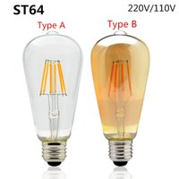 Wholesale Edison LED Filament Bulb ST64 Vintage Led Lamp W W W V V V K K Replace Incandescent of W W W Lighting