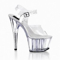 Completo Clear Crystal 15CM Super High Heel Plataformas Pole Dance / Performance / Star / Model Shoes, Zapatos de boda