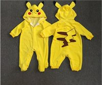 Wholesale Poke Go Toddler Infant Baby Boy Girl Clothes Pikachu Baby Romper Outfit Long Sleeve Jumpsuit Playsuit M