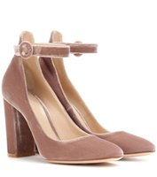 Round Toe Chunky Heel Luxo Velvet bombas de salto alto Pink Grey Studded Buckle Mary Janes Party Shoes Mulher