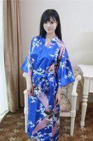 Wholesale Kimono Chinese Wedding Dress - Wholesale- Hot Sale Royal Blue Kimono Bath Gown Chinese Style Women Silk Rayon Nightgown Bridesmaid Wedding Robe Dress One Size NB039