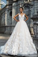 Wholesale Trendy Ball Gowns - Trendy Lace Milla Nova Wedding Dresses Sheer 2018 Tulle A-Line Applique Spring Train vestido de noiva Bridal Gown Ball For Bride