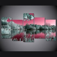 Wholesale pink landscape oil painting resale online - 5 Panel HD Printed pink sky trees lake landscape Painting on canvas room decoration print poster picture canvas
