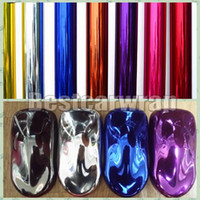 Wholesale Body Flexible - Various Colors Stretchable Mirror Chrome Vinyl Full Car Wrap High Flexible Film Air Bubble Free Vehicle Covers size 1.52*20M Roll 4.98x66ft