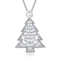 incrustación de árboles al por mayor-Nuevo Colgante de árbol de Navidad Colgante de perlas de circón de perlas 2 colores collar de joyería de Navidad Las mujeres de moda de oro 18K regalos de Navidad de alta calidad