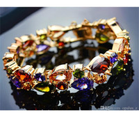 Wholesale Champagne Brides Jewelry - Teemi Hot Selling 18K Rose Champagne Gold Plated Mona Lisa Multicolor Cubic Zircon Bracelet Bangles for Women Luxury Bride Wedding Jewelry