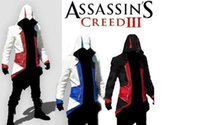 Wholesale Long Red Costume Coat - Hot Sale Custom handmade Fashion Assassins Creed 3 III Connor Kenway Hoodies Costumes Jackets Coat 8 colors choose direct from factory