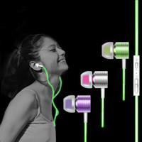 Wholesale Neon Headphones - New Glow In The Dark Earphone Metal Luminous Headphones 3.5mm In-Ear Super bass Neon Headset Earphones Smartphone MP3 With MIC for Xiaomi