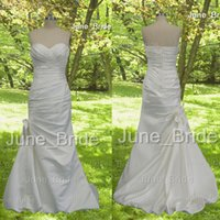 Wholesale Satin Beadwork - Elegant High Quality Column Satin Bow Wedding Dress Strapless Sweetheart Pleated Ruched Mermaid Wedding Dresses with Delicate Pearl Beadwork