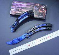 Wholesale Edge Training Knives - NEW cs go Butterfly knife balisong Karambit CSGO folding knife blade gift training knife no edge knives