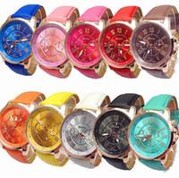 Wholesale Leather Faux Dress Wholesale - 100pcs Hot Fashion Unisex Geneva Roman Numerals Faux Leather Analog Quartz Wrist Watches for women men wrist watch dress watches