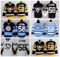 Venta al por mayor 58 Kris Letang Throwback Jersey 2016 Pittsburgh Penguins Ice Hockey Jerseys Baratos Invierno Clásico Retro Negro Blanco Azul Amarillo
