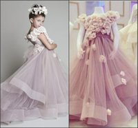 Wholesale Unique Toddler Pageant Dresses - 2016 New Lovely Girl's Pageant Dresses Organza Ruffled Handmade flowers Unique Cute Flower Girls' Dresses Girl's Pageant Dresses Custom