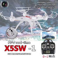 Wholesale X5SW Original Drones WIFI RC Drone FPV Helicopter Quadcopter with HD Camera G Axis Real Time RC Helicopter Toy Free DHL