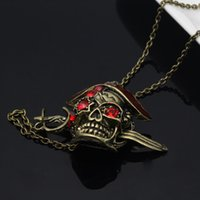 Wholesale Skeleton Necklaces - Europe and the United States the Oiginal Single Jewelry Pirates of the Caribbean Skeleton Ruby Necklace Retro Punk Personality Pendants