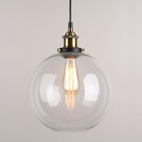 Wholesale Lamp Shades For Chandeliers - 9 X 9 Inch Globe Vintage Industrial Ceiling Lamp Clear Glass Chandelier Pendant lighting for kitchen island Loft Shade Fixture