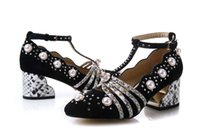 Wholesale Top Chain Straps - top quality! u624 40 genuine leather pearl rhinestone t strap med heels shoes designer runway g