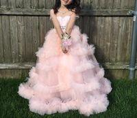 Wholesale Little Baby Flower Girl Dresses - Pink Princess Short Sleeves Flower Girl Dresses 2018 New Crystals Beaded First Communion Birthday Little Baby Girls Wear For Weddings