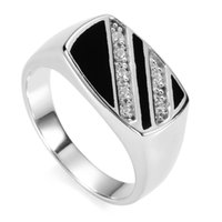 Wholesale Ring Men S Sterling - Charm Black Resin and white Cubic Zirconia 925 Sterling Silver Rings Ring For Men S--3777 sz# 7 8 9 10 11 Engagement Wedding