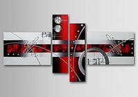 schöne ölgemälde bilder landschaft großhandel-Handgefertigt auf Leinwand Wandkunst Linien abstrakte Ölgemälde 4pcs / set Wohnkultur, CX4084