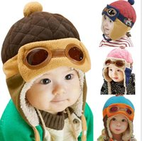 Wholesale Cool Beanie Colors - 4 Colors Toddlers Cool Baby Boy Girl Kids Infant Winter Pilot Aviator Warm Cap Hat Beanie Ear Flap Soft Hat Free Shipping