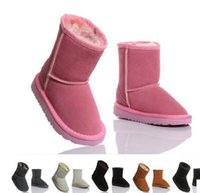 Wholesale Girls Boots Size 25 - 2016 XMAS GIFT Classic short Child snow boots girl boy winter boots kids boots cowhide winter boots EU size: 25-34