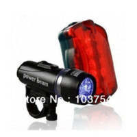 Wholesale Cheap Waterproof Led Lights - 5 LED Lamp Bike Bicycle Front Head Light Rear Safety Flashlight Plastic Waterproof Bicycle Light Cheap Bicycle Light