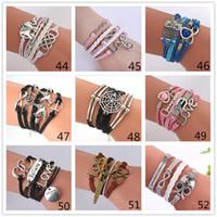 Wholesale Believe Letters - 55 styles Infinity Bracelets Charm Bracelet fashion Leather Bracelets DIY Antique Cross Bracelets 2 hearts letters Love believe bracelet