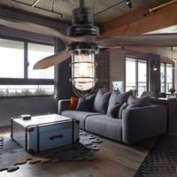 salles à manger anciennes achat en gros de-52 pouces led Loft Fer Ventilateur De Plafond feuille de bois antique ventilateur fan lumière lustre avec Télécommande pendentif lampe salle à manger salon