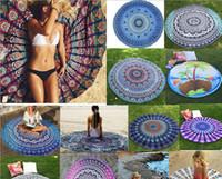 Wholesale Dot Tablecloth - Indian Mandala Round Roundie Beach Throw Tapestry Hippy Boho Gypsy Cotton Tablecloth Beach Towel Round Yoga Mat Chiffon Beach Pad