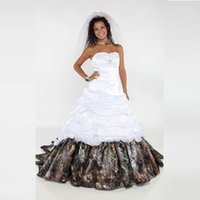Wholesale Elegant Sweetheart Lace Applique - 2016 Elegant Camo Wedding Dresses Sweetheart Appliques Beads A Line Satin Floor-Length Wedding Party Bridal Gowns QC136