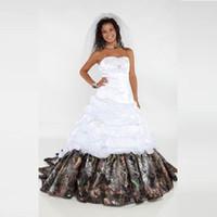 grânulos de camuflagem venda por atacado-2016 Elegante Camo Vestidos De Casamento Querida Apliques Beads Uma Linha De Cetim Longo Festa De Casamento Vestidos de Noiva QC136
