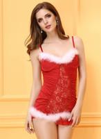 Wholesale Sexy Lingerie Women Santa Costume - 2016 Christmas Dress Sexy Lingerie straps Christmas holiday COSTUME SKIRT SUIT wholesale