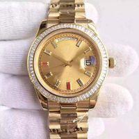 Wholesale Diamond Watch Band Men - 2016 New Fashion Auto Wrist watch Men Gold Dial Diamond Case Rose Gold Band 4o mm Day Date free shipping HK