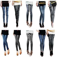Wholesale 2 Colors Style Casual Denim Women Lady Elastic Jeans Skinny Jeggings Sexy Trousers Stretchy Slim Leggings Pants