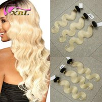Wholesale Hair Extensions Blonde One Piece - ombre human hair brazilian peruvian malaysian indian blonde body wave human hair extensions one set within 3 pieces