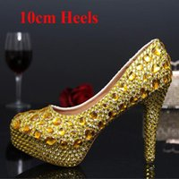 Wholesale Dress Prom Gold Color - Rhinestone Women Party Prom High Heels Gold Color Fashion Banquet Dress Shoes Pageant Shoes 10cm Wedding Bridal Shoes