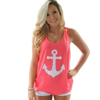 Wholesale Sleeveless T Shirt Women - Wholesale- 2016 Sleeveless T-Shirt Women Back Bow Vest Anchors Print Sexy Girl Shirts Tops Tees PlusSize Camisetas Mujer Women Clothes MT62