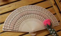 Wholesale wholesale ladies umbrellas - New Wooden Hand Fans Portable Lady Wedding Handmade Folding Fans Wholesale 50pcs Lot cheap Hand Fans